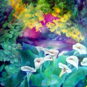 Jardin d'amour - Huile sur toile