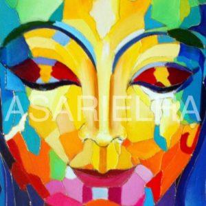Bouddha arc-en-ciel - Huile sur toile
